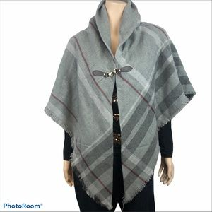 Women's Grey Striped Cape Shrug Shawl NWOT